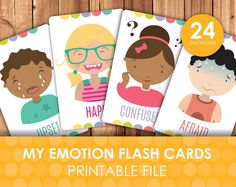 Printable Emotions and Expressions Faces Flashcards / How do you feel? / Emotional development / Emotion Flashcards / DIY Download File