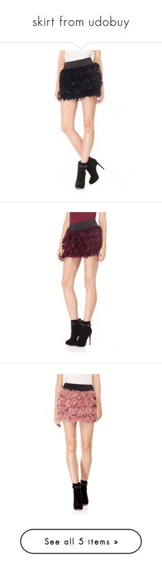 """""""skirt from udobuy"""" by celebindress-822 ❤ liked on Polyvore featuring skirts, feather skirt, red skirts, red knee length skirt, red feather skirt, udobuy, real leather skirt, high waisted a line skirt, genuine leather skirt and leather skirts"""