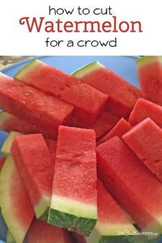 How to cut watermelon for a crowd -- a simple, mess free way to serve watermelon {OneCreativeMommy.com} Brilliant! Why didn't I think of this before?