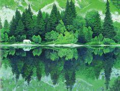 東山魁夷 Japan Art, Illustration Art, Illustrations, Shades Of Green, Art Inspo, Landscape Paintings, Japanese, Nature, Graphic Design