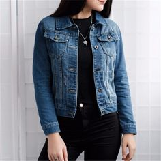 Women Basic Coats Autumn And Winter Women Denim Jacket 2019 Vintage Long Sleeve Slim Female Jeans Coat Casual Girls Outwear Dark Denim Jacket, Cropped Denim Jacket, Ripped Denim, Jacket Jeans, Denim Overalls, Girls Denim Jacket, Jean Jacket For Girls, Outfit Essentials, Salopette Jeans