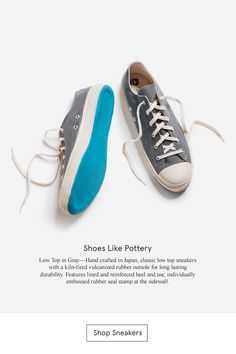 Shoes Like Pottery—Low Top in Gray—Hand crafted in Japan, classic low top sneakers with a kiln-fired vulcanized rubber outsole for long lasting durability. Features lined and reinforced heel and toe, individually embossed rubber seal stamp at the sidewall.