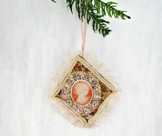 Vintage 60s Christmas Ornament, Handmade Victorian Cameo Ornament, Pink Lace, Cream Ribbon, Diamond Shaped Ornament, Cottage Chic Ornament by RedGarnetVintage