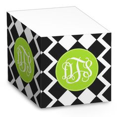 Black & White Diamonds Sticky Note Cube... love these monogrammed note cubes :D