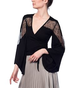 Look what I found on #zulily! Black Lace-Panel Bell-Sleeve Wrap Top - Plus #zulilyfinds