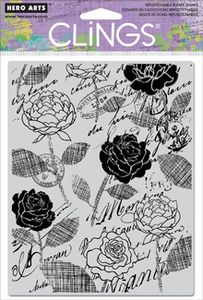 *Hero Arts Cling Stamp ROSE SCRIPT BACKGROUND 2012 Rubber Unmounted CG460
