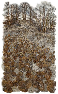 Lesley Richmond - Skyline, Cotton/silk fabric, heat reactive base, metal patinas, 62 x 37 in.Image 12 of 16 Textile Fiber Art, Textile Artists, Creative Textiles, Creative Art, A Level Textiles, Paper Artwork, Thread Painting, Fabric Art, Silk Fabric