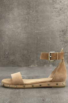 40a99bf70ea Chinese Laundry Grady Camel Suede Leather Ankle Strap Sandals