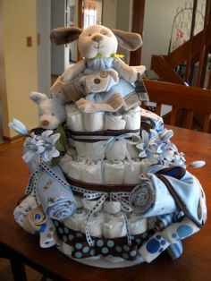 Baby Shower Cakes | ... boys love puppy dog diaper cake theme diaper cakes for boys 600x800