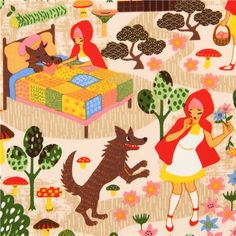 beige riding hood fairy tale fabric Trans-Pacific Textiles