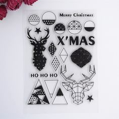 2016 New Scrapbook DIY Photo Album Cards Transparent Acrylic Silicone Rubber Clear Stamps color XMAS