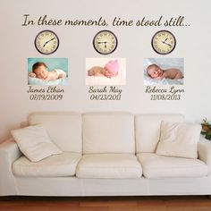 In these moments, time stood still - Custom Monogram & Date - Quote Wall Decals