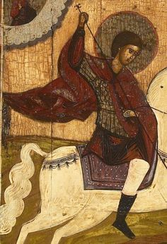 Detailed view: V083. Saint George and the Dragon- exhibited at the Temple Gallery, specialists in Russian icons