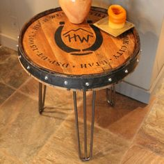 Reclaimed Whiskey Barrels Handmade from an authentic High West whiskey barrel, this rustic table is the perfect statement piece for any room. The wood is sanded (less so on the top to preserve the nat                                                                                                                                                      More