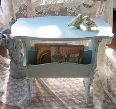 Shabby Chic Aqua Blue Table Magazine Rack  Cottage by Fannypippin,