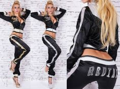 Sexy Redial Womens Satin Hoodie Black Tracksuit Sportwear Jogging Set  Size S M #Redial #TracksuitsSweats