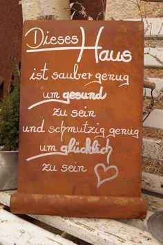 Edelrost Tafel - This House . Garden Decoration Schild Gedichttafel Spruch Text Source by tabieesz