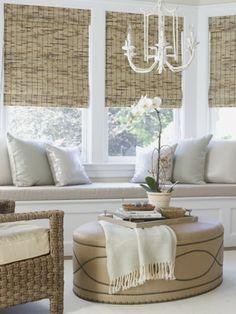 Ottoman, bamboo shades <3  South Shore Decorating Blog: Weekend Roomspiration #11