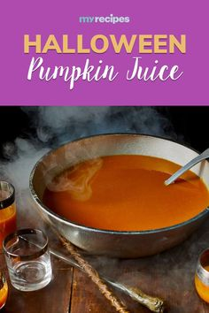 Inspired by the magical world (specifically, the magical dinner table) of Harry Potter, this easy pumpkin juice recipe couldn't be simpler to whip up for a crowd. You can even prep the sweet beverage in advance and refrigerate, leaving the pumpkin juice in your blender, until ready to serve. Just give it a quick blend to reincorporate the ingredients before pouring into goblets for your Potter party.#halloween #halloweenrecipes #myrecipes