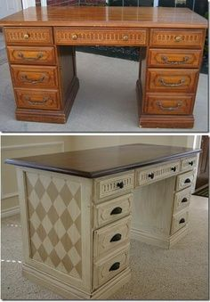 This is another awesome way to spruce up an old desk with some paint and a simple idea. BR x