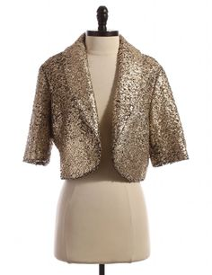 Short Sleeve Metallic Jacket by Taikonhu by Anthropologie - Size 12 - $39.95 on LikeTwice.com