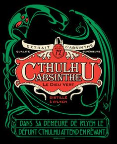 Cthulhu Absinthe art nouveau tshirt unisex sizes by sighcographics, $22.00