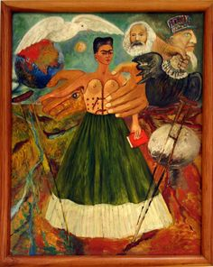 "Frida, self portrait wearing one of her corsets. ""El marxismo dará salud a los enfermos"" (1954). (1273×1600)"