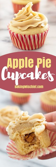 Apple Pie Cupcakes: soft and fluffy vanilla cake wrapped around a miniature apple pie with homemade caramel frosting on top. You're going to love these! From http://BakingMischief.com