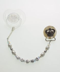 White Crown Bead Personalized Pacifier Clip