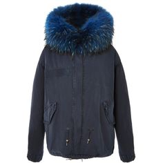 Mr & Mrs Italy Navy Mini Parka With Bluette Wool (625.365 HUF) ❤ liked on Polyvore featuring outerwear, coats, wool parka, navy wool coat, hooded coats, hooded parka coat and navy blue wool coat