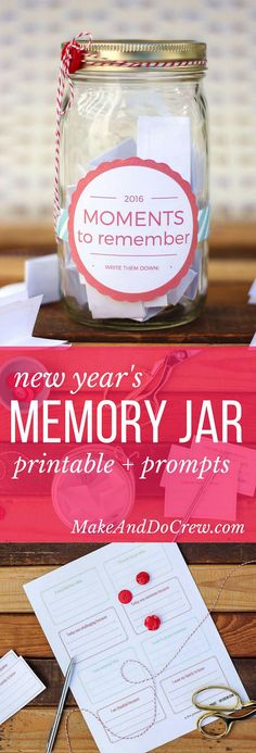 DIY Memory Jar tutorial--a great alternative to keeping a daily journal. Includes a downloadable 2016 (and 2017) jar label as well as printable ideas and writing prompts to fill out. Click to get the free printables. | http://MakeAndDoCrew.com