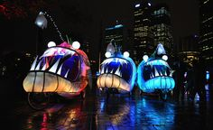 Giant Glowing Anglerfish Bikes in Sydney #art #cars..ha! this would be soo cool to travel around sydney in!