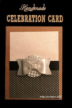 Simple Handmade Card with Black, White and Silver Metallic Papers on a Brown Kraft Paper Card. Ideal for New Years Eve, Engagements, Wedding, and all Celebrations. Created By Polka Dot Heart Art.