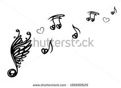 Big music note with wings, music notes with love - stock vector