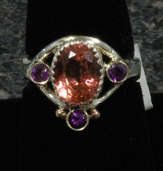 Coral Sapphire and Amethyst sterling and 14k ring by shiningdarkly, $345.00