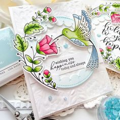 {Flutter} by Atomicbutterfly: Pinkfresh Studio {Hold on to your Hope} Studio Cards, Ink Splatter, White Gel Pen, Bird Cards, Gel Pens, Cool Cards, Flower Cards, Soft Colors, Hold On