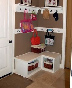 """Drop zone"" when you don't have space for a mud room"