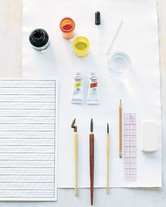 Gather Calligraphy Supplies - How-To: Calligraphy - Step 1 - MarthaStewart.com
