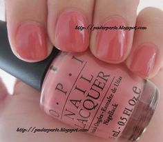 Nantucket Mist, OPI - dusty peach/rose pink with a slightly orange/coral tone nail polish/lacquer