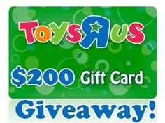 Toys R Us $200.00 Gift Card GIVEAWAY  08/12-08/25  #ToysRUs #TRU #Toys #Giveaway #Enter #WIN #shopping #kids #GiftCard #Christmas