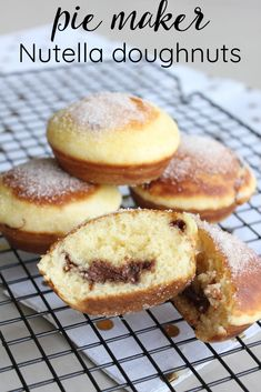 Pie Makers are not just for pies, they also do an amazing job of baking! These Pie Maker Nutella Doughnuts are the perfect example. Enjoy them warm, coated in generous amounts of cinnamon sugar. Mini Pie Recipes, Waffle Maker Recipes, Nutella Recipes, Donut Recipes, Sweet Recipes, Baking Recipes, Cake Recipes, Dessert Recipes, Dutch Recipes