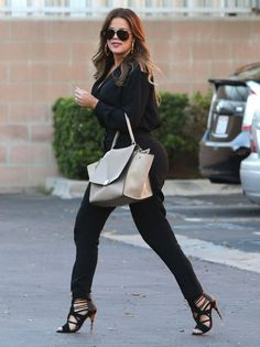 Khloe Kardashian in Tamara Mellon paired with Balmain sandals and a Celine bag runs errands in L.A. #bestdressed
