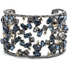 Alexis Bittar Spiked Crystal Confetti Cuff ($345) ❤ liked on Polyvore featuring jewelry, bracelets, crystal cuff bracelet, cuff jewelry, cuff bracelet, spike bracelet and bracelet jewelry