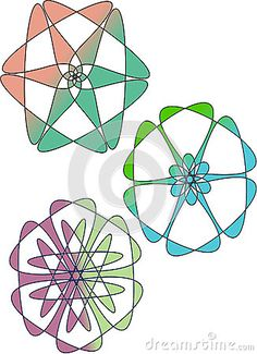 Three flower type logo. colorful illustration for your  business.