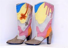 LOVE!!! Drippy Ice Cream // Colorful Surrealist Abstract Boots / 8. $58.00, via Etsy.
