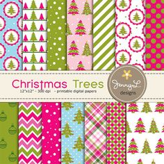 Christmas Trees Digital Papers Christmas by JennyLDesignsShop