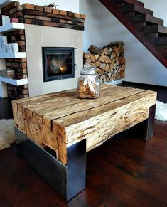 Handmade Reclaimed Wood & Steel Coffee Table Vintage Rustic Industrial loft end table unique brown old wood old beams silver legs Handmade Furniture, Unique Furniture, Furniture Projects, Rustic Furniture, Metal Furniture, Furniture Design, Bedroom Furniture, Furniture Stores, Vintage Furniture