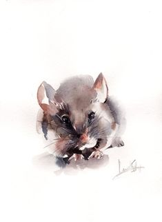 Original Watercolor Painting Mouse Painting by CanotStop on Etsy