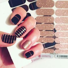 Jamberry. Mixed mani. It girl. Rose. Black and gold