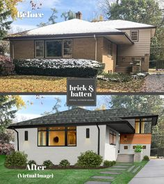 We virtually paint brick houses everyday. We've found 20 painted brick houses to inspire and get you excited to paint your brick. Home Exterior Makeover, Exterior Remodel, House Paint Exterior, Exterior House Colors, Brick House Colors, White Brick Houses, Painted White Brick House, Modern Brick House, Modern Houses